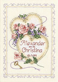 United Hearts Wedding Record Counted Cross Stitch
