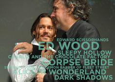 Johnny Depp has starred in exactly half of the feature films that Tim Burton has directed. I Movie, Movie Stars, Dream 2017, I Love Him, My Love, Johnny Depp Movies, Helena Bonham Carter, Tim Burton, Feature Film