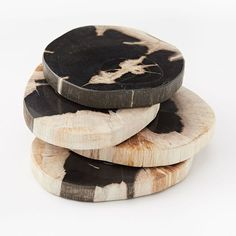 Petrified Wood Coasters, Set of 4, Black