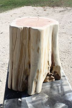 Tree Stump Table Base, Reclaimed Stump, Wood Side Table, Odd Wonky Shape,  13x15 Top, 22