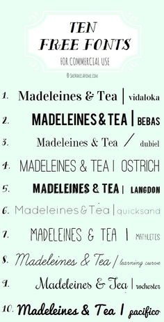 Top 10 free, commercial-use fonts | via She Makes a Home