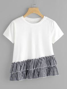 Shop Layered Gingham Ruffle Trim Slub T-shirt online. SheIn offers Layered Gingham Ruffle Trim Slub T-shirt & more to fit your fashionable needs. Sewing Clothes Women, Clothes For Women, Modest Fashion, Fashion Outfits, Kids Outfits, Cute Outfits, Embroidery Fashion, Diy Shirt, Cute Shirts