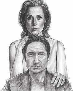 Mulder & Scully Fan Art by @xfdoodles | The X Files