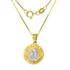 14k gold guardian angel pendant necklace kids pendants gold and 14k two tone gold god bless you angel pendant necklace aloadofball Gallery