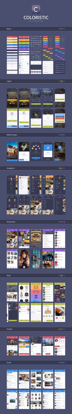 Coloristic: iOS/Android UI Kit App Screens) by UIChest Coloristic is carefully crafted mobile user interface kit for Photoshop. It contains 60 app screens with hundreds of elements, tha Android App Design, Ios App Design, Android Ui, Mobile Ui Design, Interaktives Design, Module Design, Webdesign Inspiration, App Design Inspiration, Gui Interface