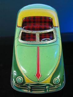 VINTAGE JAPAN TIN LITHO CONVERTIBLE CAR TRADE MARK MODERN TOY FRICTION AUTO | eBay #vintagetoys