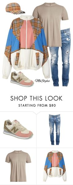"""""""Windbreakers R Back"""" by molauren ❤ liked on Polyvore featuring New Balance, Dsquared2, Rick Owens, Burberry, men's fashion and menswear"""