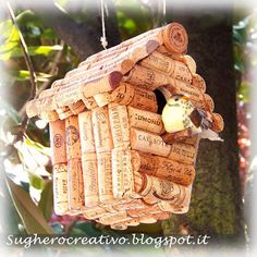 Cork Art - Sughero Creativo: CASETTA UCCELLINI PER IL GIARDINO - DIY cork bird house for garden
