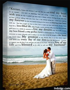 Vows on wedding photo- canvas
