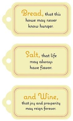 Printable Bread/Salt/and Wine Labels. Cute housewarming gift idea!