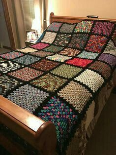 Crochet Squares This is hand crocheted. Each square is a different variegated yarn. It measures approx 80 x It is pictured on a queen size bed. It will also fit a king size bed. Made in a smoke free, pet free home. Machine washable and dryable. Crochet Afghans, Crochet Bedspread, Crochet Quilt, Crochet Blanket Patterns, Free Crochet, Knitting Patterns, Crochet Stitch, Granny Square Crochet Pattern, Crochet Squares
