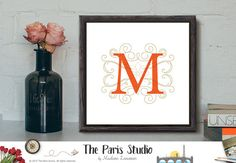 Custom Nursery Art Monogram Design Personalized Birthday Gift Name Initial Art Print Home