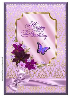 A4 Lilac Butterfly Flowers Birthday on Craftsuprint - Add To Basket!