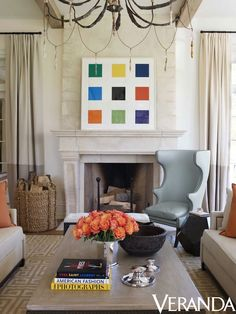 Ellsworth Kelly painting, the focal point of a monochromatic living room // by Suzanne Kasler via Quintessence, photo by Simon Upton