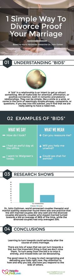 Psychology infographic and charts Gottman Research Shows 'Bids' Help Divorce Proof Your Marriage Infographic Description Dr. John Gottman found there was Marriage Help, Healthy Marriage, Happy Marriage, Marriage Advice, Love And Marriage, Happy Relationships, Quotes Marriage, Strong Marriage, Successful Marriage