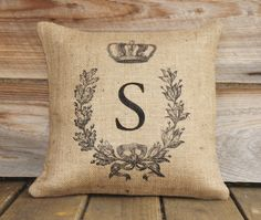 Monogrammed Burlap Pillow Cover, Feed Sack, Anniversary 16x16.
