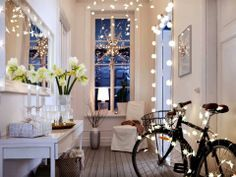 Be your own Designer and decorate with STRÅLA snowflake lights by IKEA bring your Holiday fairytale inside.Holiday Inspiration Spread some joy and fill your home with these inspiring decorative ideas featuring IKEA holiday collection. Snowflake Lights, Hallway Furniture, Interior Decorating, Interior Design, Christmas Inspiration, Xmas Ideas, Christmas Lights, Christmas Hallway, Ikea Christmas