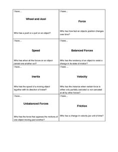 This is an I have, Who has game that reviews key NC Force and Motion vocabulary concepts for fifth grade science students. This set contains 24 key...
