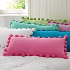 Pom Pom Organic Pillow Cover 2019 pottery barn pillows but how cute and easy to make! what kid wouldn't love to jump on a pile like this? The post Pom Pom Organic Pillow Cover 2019 appeared first on Pillow Diy. Cute Pillows, Diy Pillows, Decorative Pillows, Cushions, Throw Pillows, Colorful Pillows, Pillow Ideas, Pillows For Kids, Bright Pillows