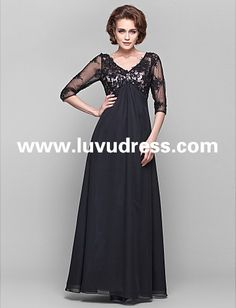47d0c7414d3 Cheap A-line V-neck Length Sleeve Lace And Chiffon Floor-length Mother of  the Bride Dress Free Measurement