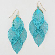 Laser Cut Folio Chandelier Earrings dipped in Blue
