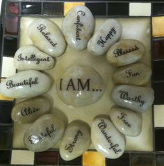 Affirmation stones that remind clients to use positive self-talk!