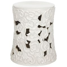 Intricately detailed, the Cloud Garden Stool is crafted of high fired ceramic with lustrous white glazed finish. Used in Chinese gardens for centuries as a gazing perch, this stool motif of stylized s