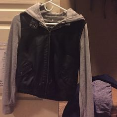 Leather hooded jacket In perfect condition only worn once hood can be unbuttoned says it's a large but I'm a small and it fits me perfect Jackets & Coats