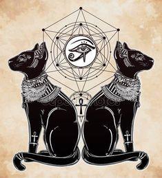 Скачать - Иллюстрация египетской кошки с глаз Гóра — стоковая иллюстрация #109846010