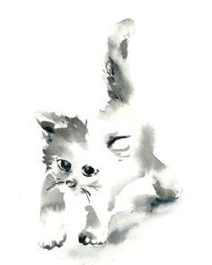 Minimalist Cat Watercolor Painting Art Print,Cat Art, Cat Painting Black and White Modern Art Kitten
