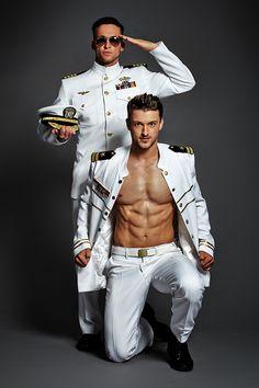 Stripper in marine uniform