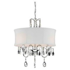 $149.95 24H x 18Dia, 3x 40watts. Illuminate your dining room or foyer with this elegant chandelier, showcasing a white shade and crystal-inspired accents.  Product: ...