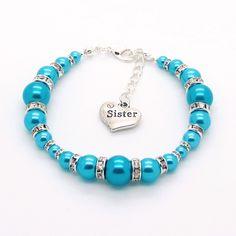 Turquoise 'Graduated Glass Pearl & Rhinestone' bracelet