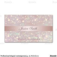 Professional elegant contemporary glitter bokeh Double-Sided standard business cards (Pack of 100)