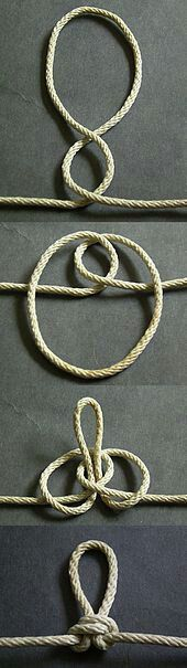 How to tie an Alpine Butterfly Loop - twist method. The finger-wrapping method is easier, though. See AnimatedKnots.com. Fantastic knot, btw. Very strong and very easy to untie.
