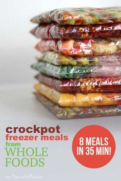 These ALL sound so good ~ make these asap! Crockpot freezer meals from Whole Foods (8 meals in 35 min!)