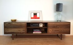 "Kasse Credenza / TV Stand in Solid Walnut (84""L x 19"" W x 24""H) $2,500.00"