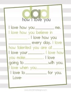 Fabulous Free Father's Day Printable. Simple fill in the blank Father's Day Free Printable for Dad. This is perfect for a last minute diy gift or to add in with his card!