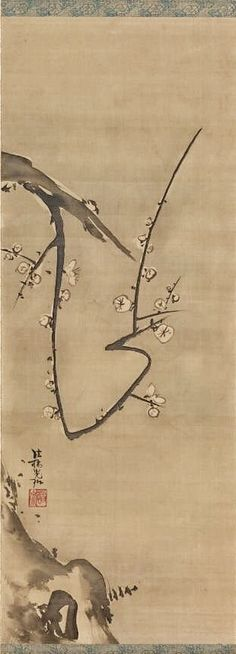 Ogata Kōrin. Prunus. (Plum Branch). late 17th-early 18th century. Japan. Japanese hanging scroll. The Cleveland Museum of Art