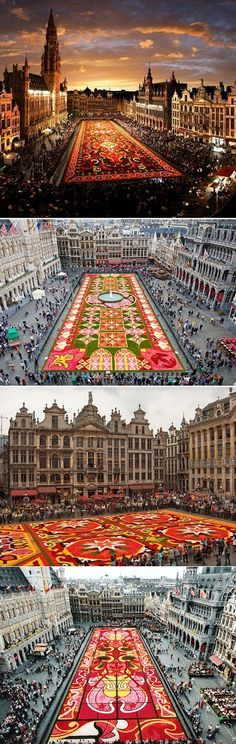 This is an amazing event in Brussels, Belgium. The design is done completely with flowers.