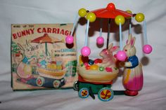VINTAGE WIND UP TOY (BUNNY CARRIAGE) W/CARROUSEL - TIN & CELLULOID MIB - NR #Unbranded