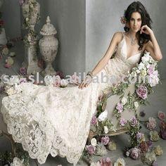 Wholesale Sheath Spaghetti Strap Cheap Lace Wedding Gown(Bridal Wedding Dress) with V neck-SL-A660