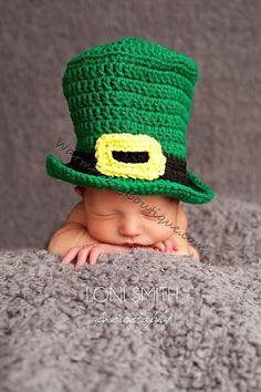 Baby Leprechaun Top Hat Paddy Green - Crochet Newborn Beanie Boy Girl Costume Winter  Photo Prop Cap 2014 Christmas Outfit