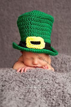 Baby Leprechaun Top Hat Paddy Green - Crochet Newborn Beanie Boy Girl Costume Winter  Photo Prop Cap 2014 Christmas Outfit