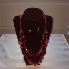 """Selling this """"Red necklace and earrings set"""" in my Poshmark closet! My username is: jacky1990. #shopmycloset #poshmark #fashion #shopping #style #forsale #Jewelry"""