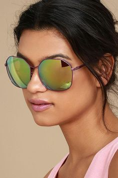 #AdoreWe #Lulus Lulus❤️Designer Accessories Perverse Voyage Purple Mirrored Sunglasses - AdoreWe.com