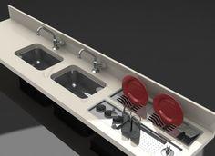 bancada de cozinha com escorredor no fundo - Pesquisa Google