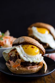 Kimchi burger topped with fried egg