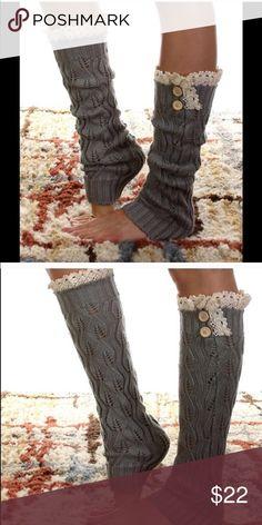 Grey Leg Warmers So chic grey Lace trim leg warmers nwot Accessories Hosiery & Socks