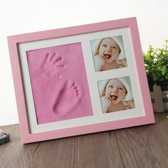 Safe imprint Clay for moulding with a Premium Wood frame and High Quality Acrylic Glass Cover Ultimate newborn baby gift Soft Baby Hand /& Foot Print Frame Kit